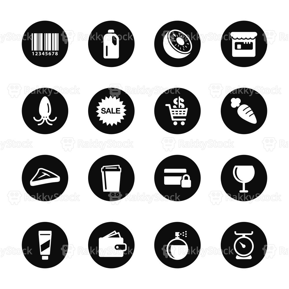 Supermarket Icons Set 2 - Black Circle Series