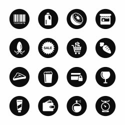 Supermarket Icons Set 2 - Black Circle Series