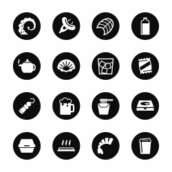 Food and Drink Icons Set 4 - Black Circle Series