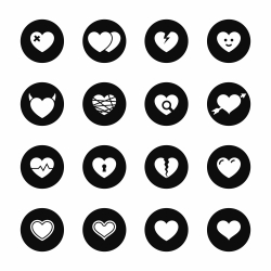 Heart Icons - Black Circle Series