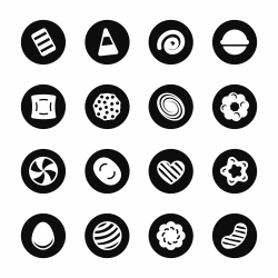 Candy Icons Set 2 - Black Circle Series