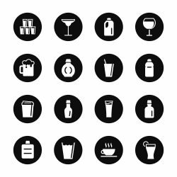 Beverage Icons Set 2 - Black Circle Series