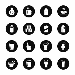 Beverage Icons Set 4 - Black Circle Series