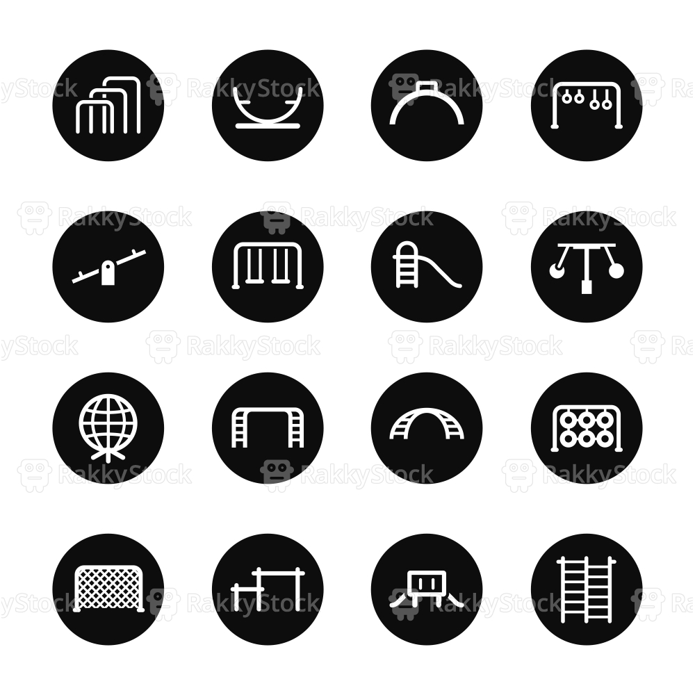 Playground Icons Set 2 - Black Circle Series