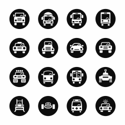 Car Collection Icons - Black Circle Series