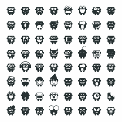 Silhouette Emoticons 64 icons