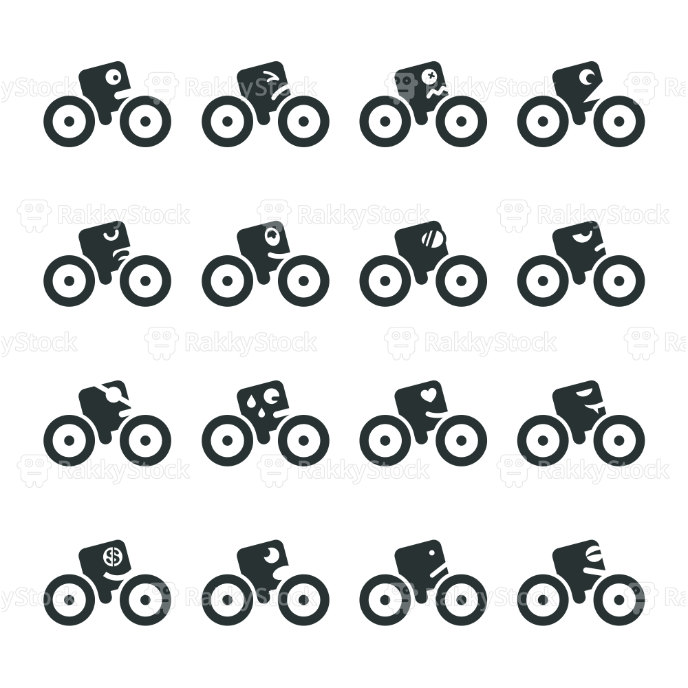Cycling Emoticons Silhouette Icons