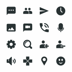 Chat App Silhouette Icons