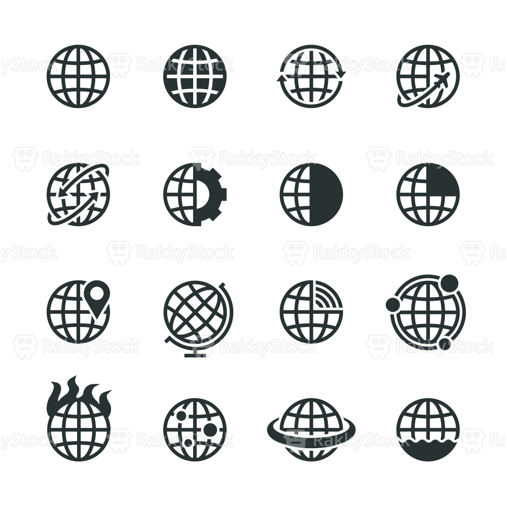 Globes Silhouette Icons