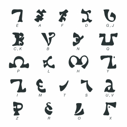 Inca Alphabet Silhouette Icons