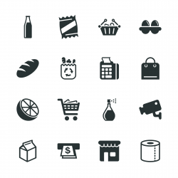 Supermarket Silhouette Icons