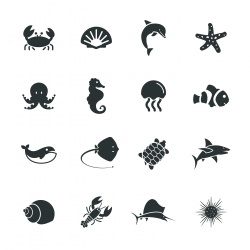 Marine Life Silhouette Icons
