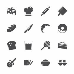 Bakery Icons - Gray Series