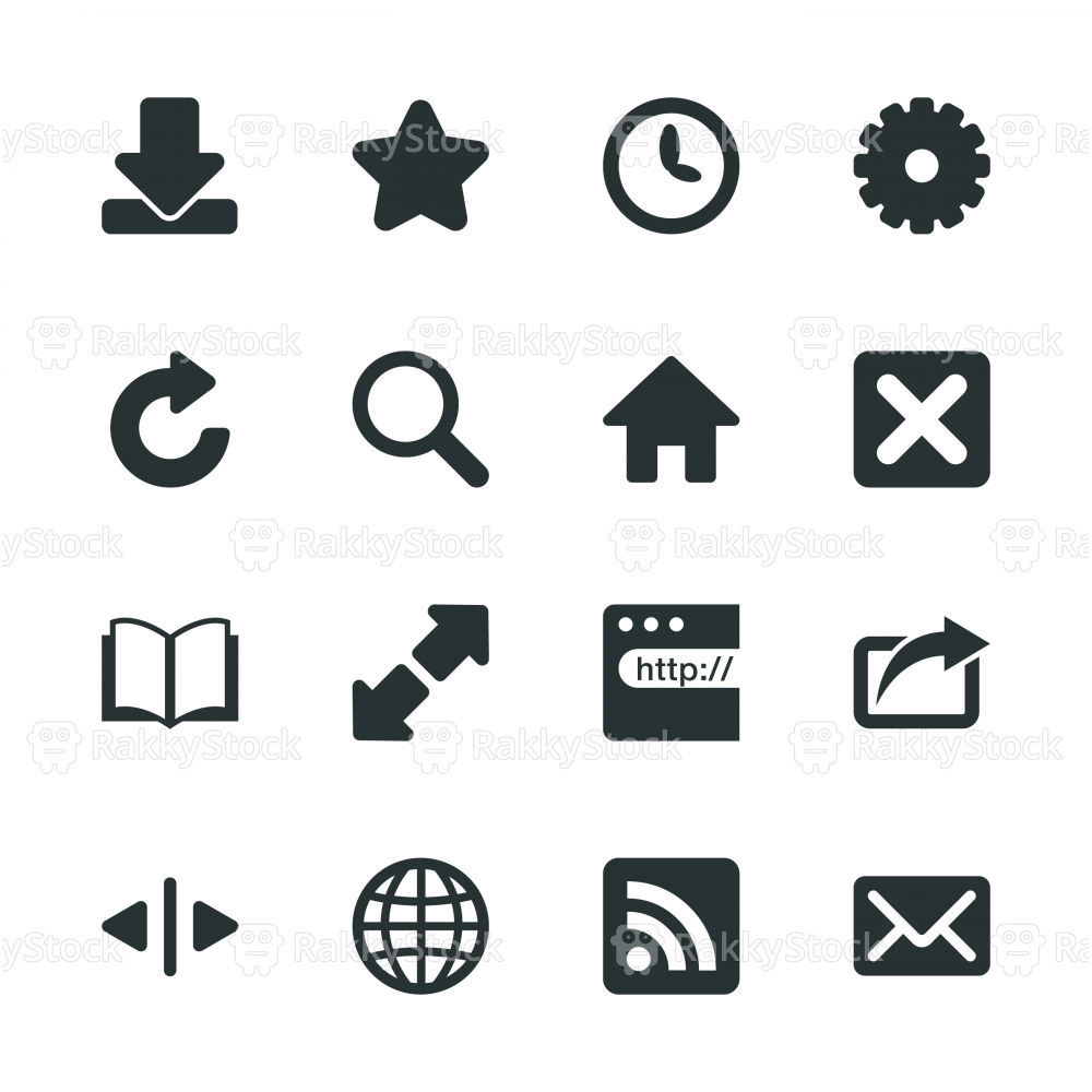 Web Browser and Intenet Silhouette Icons