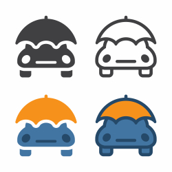 Car With Umbrella Icon