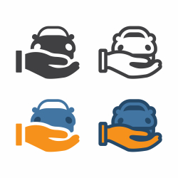 Hand Holding Car Icon
