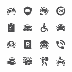 Car Insurance Icon - Gray Series