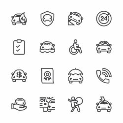 Car Insurance Icon - Line Series