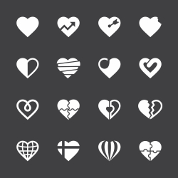Heart Icons Set 2 - White Series