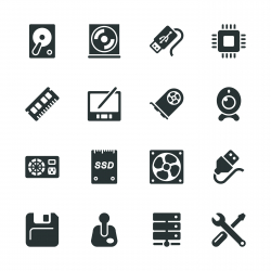 Computer Hardware Silhouette Icons | Set 2