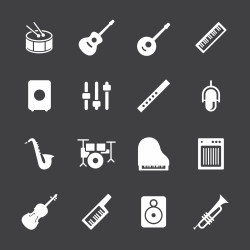 Musical Equipment Icons - White Series