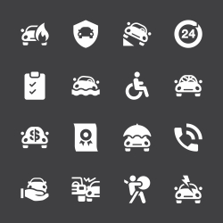 Car Insurance Icon - White Series