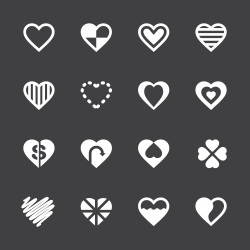 Heart Icon Set 3 - White Series