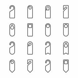 Door Hanger Sign Icon - Line Series