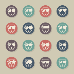 Sunglasses Icons - Color Circle Series
