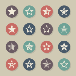Star Shape Icons - Color Circle Series