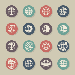 Globes Icons - Color Circle Series