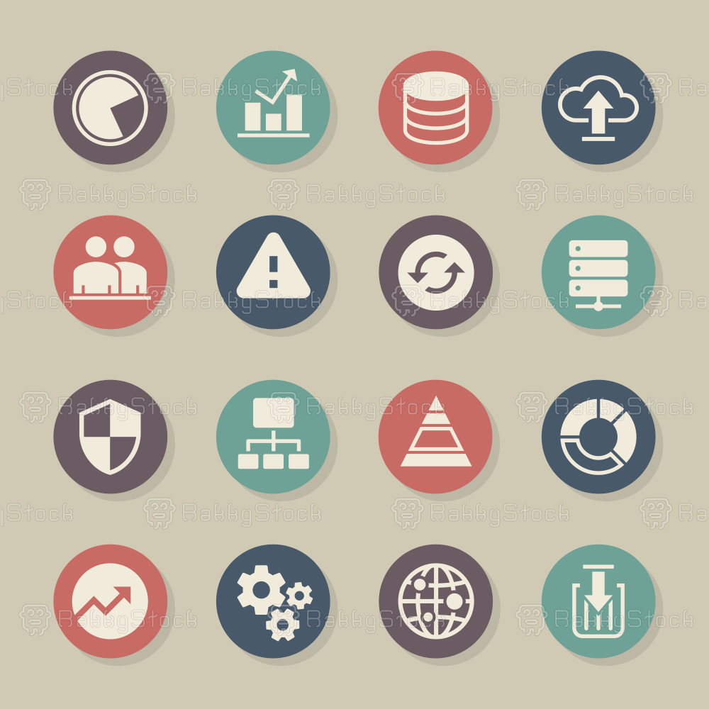 Database Management Icons - Color Circle Series