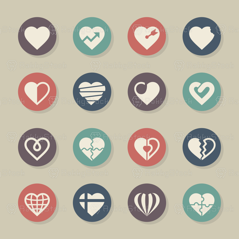 Heart Icons Set 2 - Color Circle Series