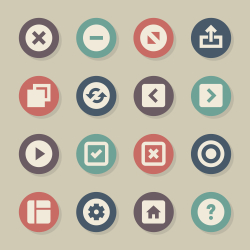Web Button Icons - Color Circle Series
