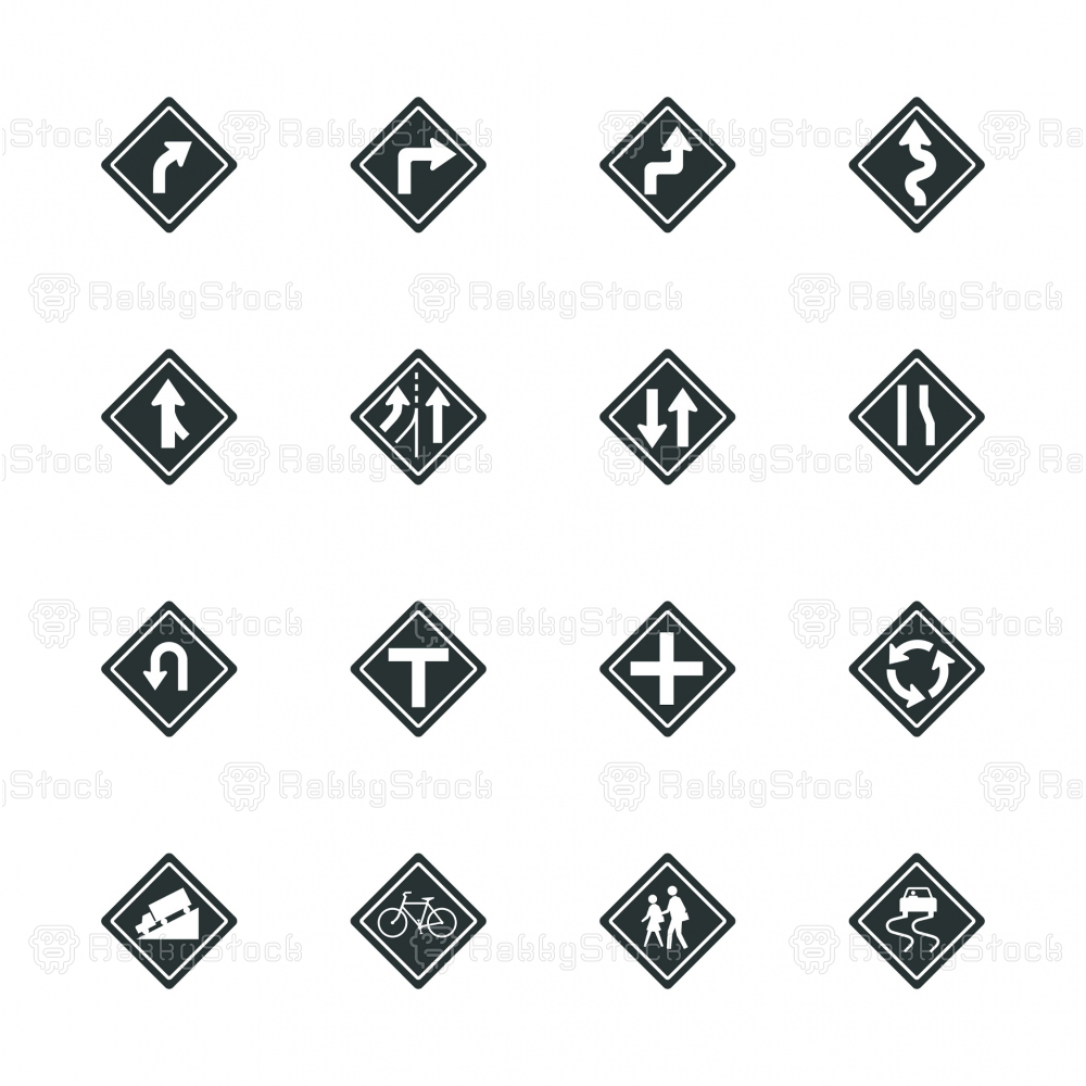 Traffic And Road Sign Silhouette Icons