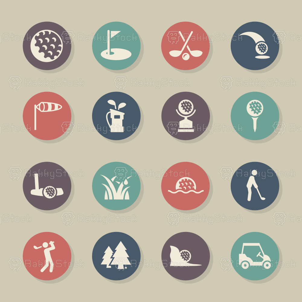 Golf Icons - Color Circle Series