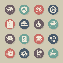 Car Insurance Icon - Color Circle Series