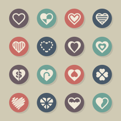 Heart Icon Set 3 - Color Circle Series