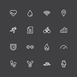 Fitness Tracker Icon - White Line Series