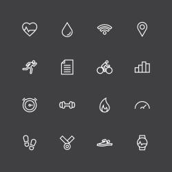 Fitness Tracker Icon - White Line Series