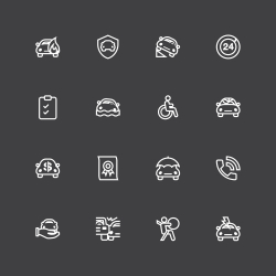 Car Insurance Icon - White Line Series