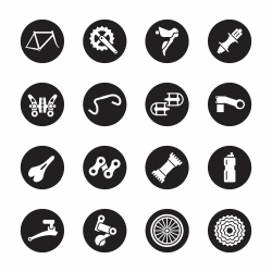 Bicycle Parts Icons - Black Circle Series