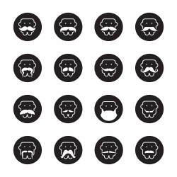 Mustache Style Icons - Black Circle Series