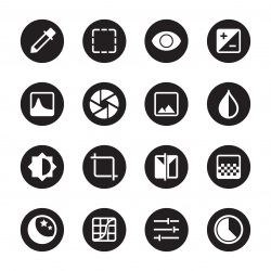 Photo Editor Icons - Black Circle Series