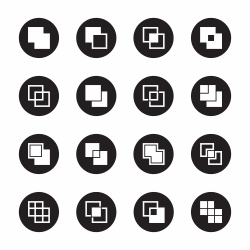 Square Shape Icons - Black Circle Series