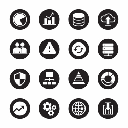Database Management Icons - Black Circle Series