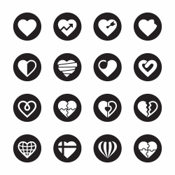 Heart Icons Set 2 - Black Circle Series