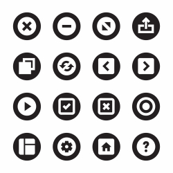 Web Button Icons - Black Circle Series
