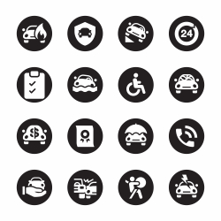 Car Insurance Icon - Black Circle Series
