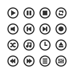 Music Player Icon - Gray Series
